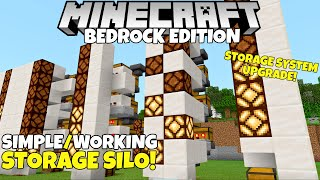 Minecraft Bedrock: Simple STORAGE SILO! Storage System Upgrade! Tutorial! MCPE Xbox PC Ps4