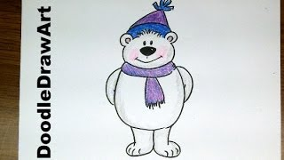 Drawing: How To Draw Cartoon Polar Bear -Easy Step by Step Lesson for kids!