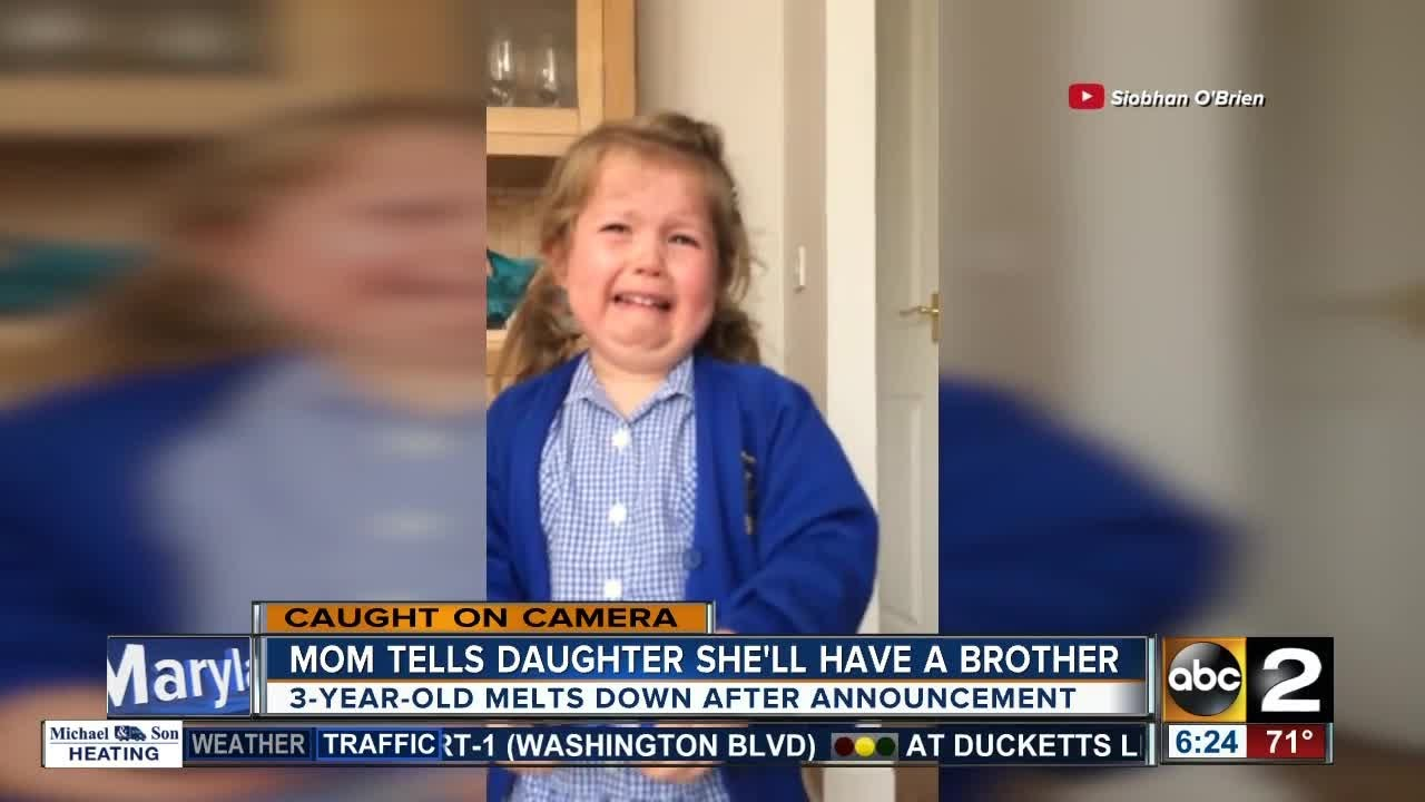 Girl has meltdown over getting a baby brother