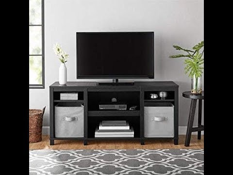 """for Flat TVs up to 50"""" 6-Shelf Parsons Cubby TV Stand Organizer Rustic Oak"""