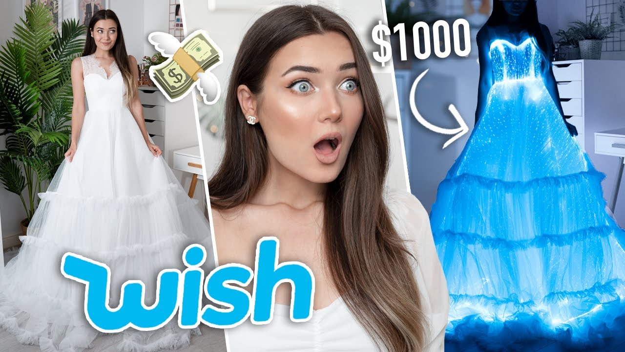 TRYING ON WISH WEDDING DRESSES...$1000 LIGHT UP DRESS!?