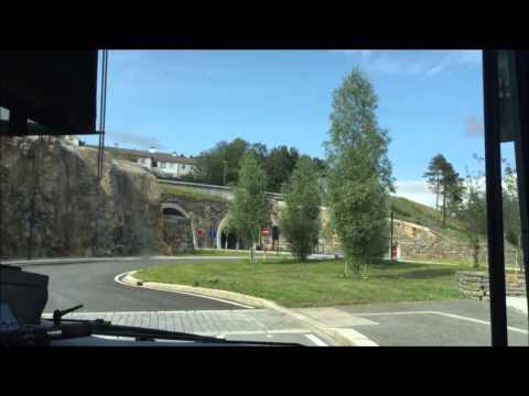 Bus trip from Sanslimarka to Sentrum. Bergen, Norway. Hyperlapse