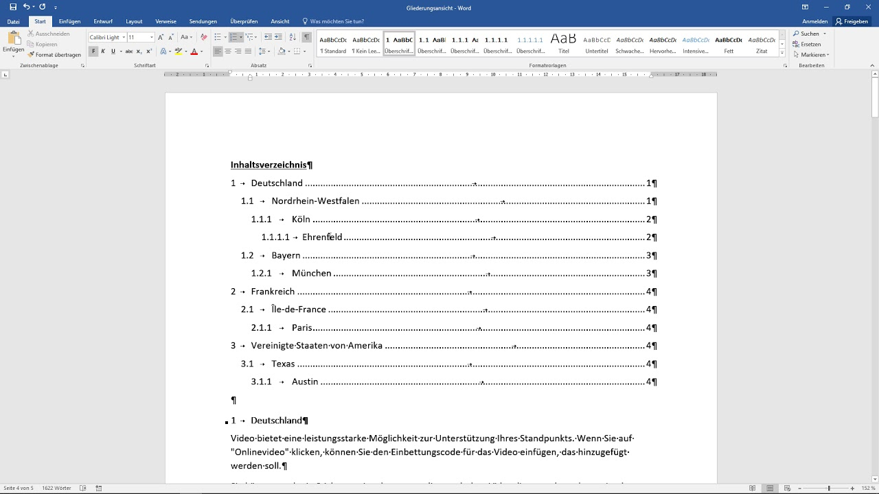 Inhaltsverzeichnis Word