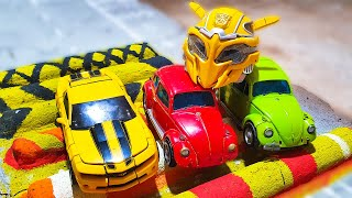 Cars vs Fallen Trees Transformers Stop Motion – Bee, Autobots BeamNG.Drive