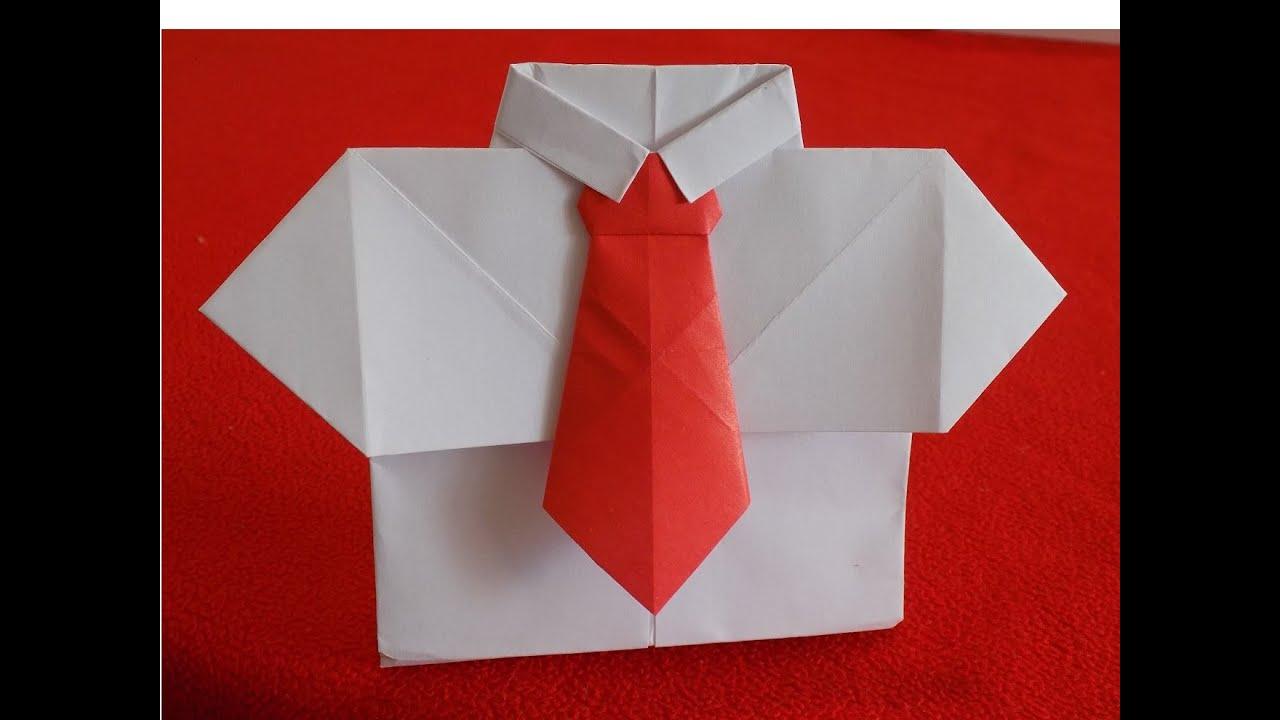 рубашка с галстуком из бумаги