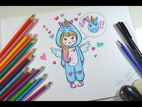 Como Desenhar Menina Estilo Kawaii Com Pijama De Unicórnio Passo A Passo