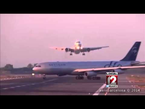 Video: Two jets nearly collide at Barcelona airport