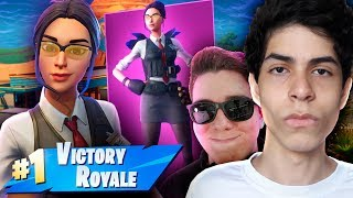 I PLAYED WITH the AGENT'S SKIN ALONG WITH YOUTUBERS-Fortnite (Battle Royale)