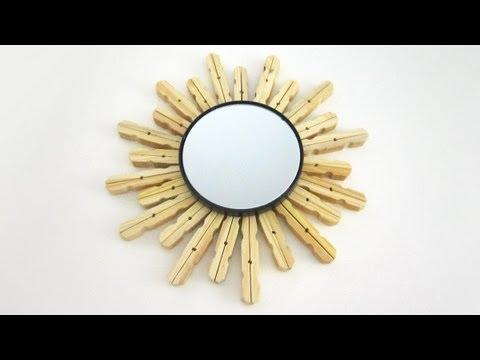 Episodio 627 c mo decorar un espejo con pinzas para ropa for Espejo que no invierte la imagen