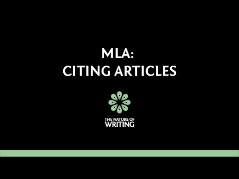 MLA (8th ed.): How To Cite Articles