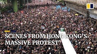 Scenes from Hong Kong's second straight Sunday of massive anti-extradition bill protests