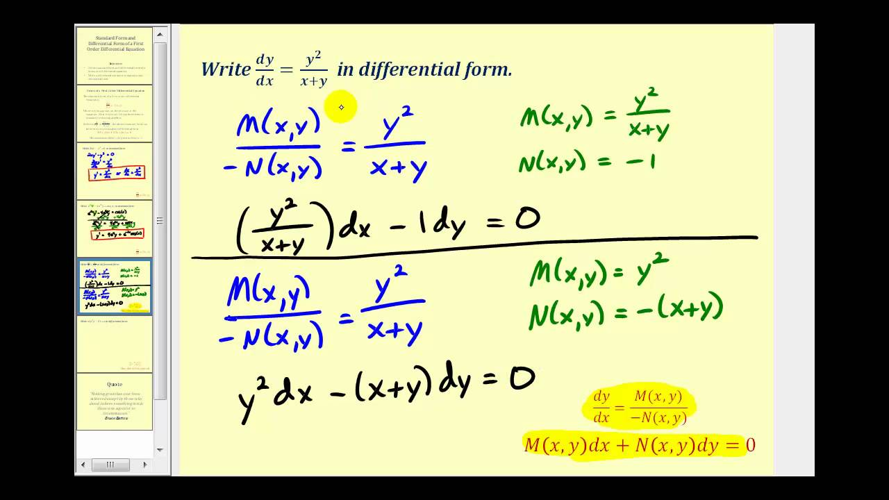 Standard and Differential Form of First-Order Differential ...
