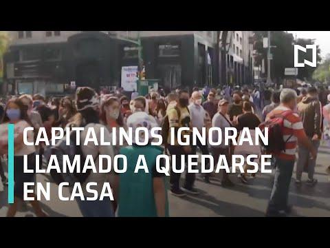 Aglomeraciones en el Centro Histórico   Capitalinos ignoran Semáforo Covid - En Punto