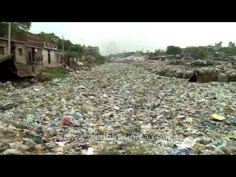 River of Garbage in the Indian capital of Delhi - appaling reality of urban India