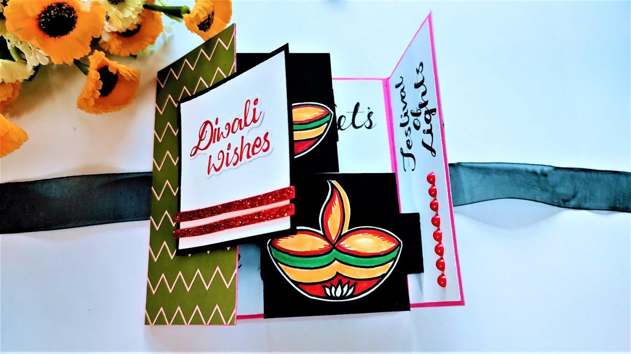 Diwali Card | Handmade Diwali POP UP CARD | Easy Diwali Card Making Using Less Material | Tutorial