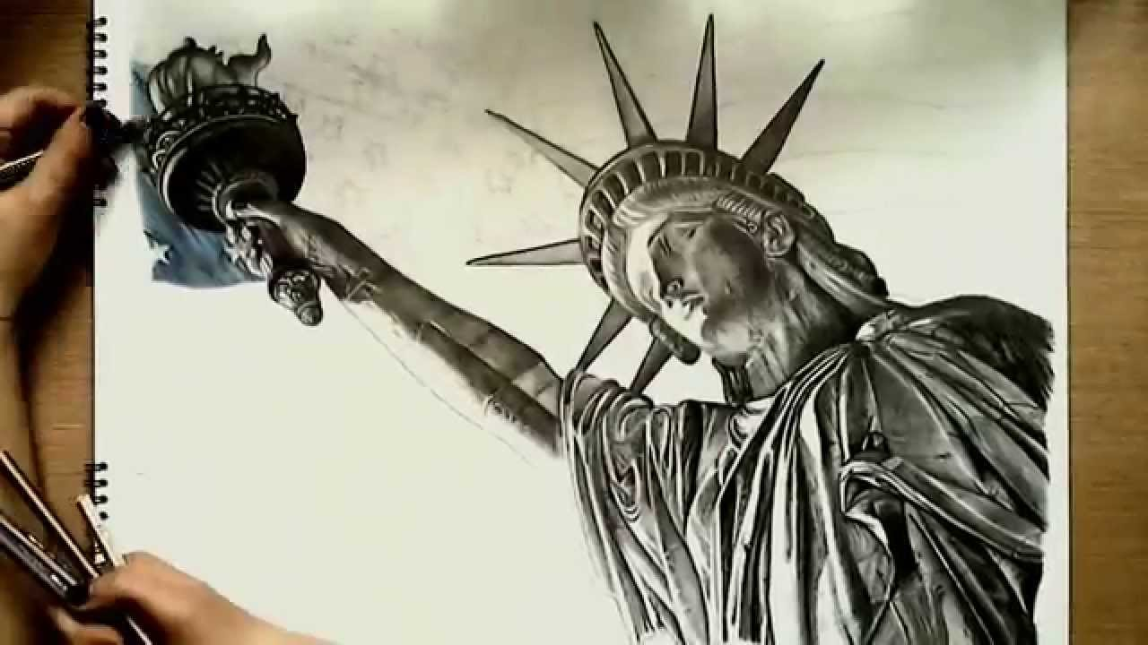 Realistic drawing statue of liberty