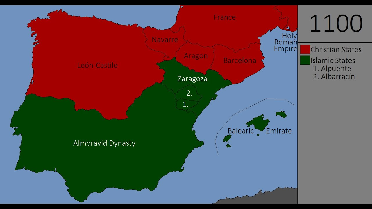 Map Of Spain Under Moorish Rule.The Reconquista Every Year