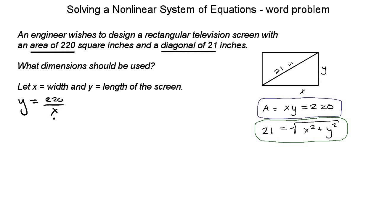 solving a nonlinear system of 2 equations - word problem - ex 01
