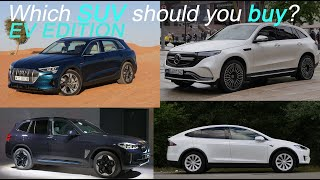 BMW iX3 vs Tesla Model X vs Audi e-tron vs Mercedes EQC comparison EV SUVs