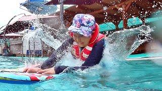 북한산 수영장에서 마지막 물놀이를 신나게 즐기는 아이의…