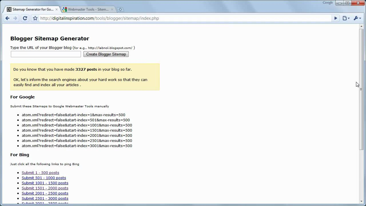 sitemap generator for blogger youtube