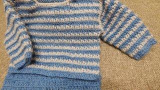 Repeat youtube video Sueter para Bebe Crochet parte 1 de 2