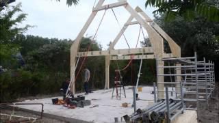 hout skeletbouw van schuur