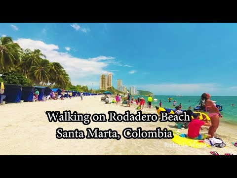 Santa Marta Colombia - Walking on Rodadero Beach - Yi 4K+