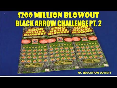 NC EDUCATION LOTTERY $20 SCRATCHCARD BLACK ARROW CHALLENGE