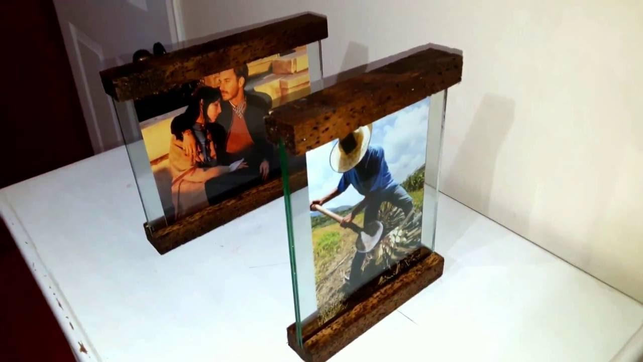 Portaretratos minimalistas madera vidrio efecto antiguo - Como hacer cobertizo de madera ...