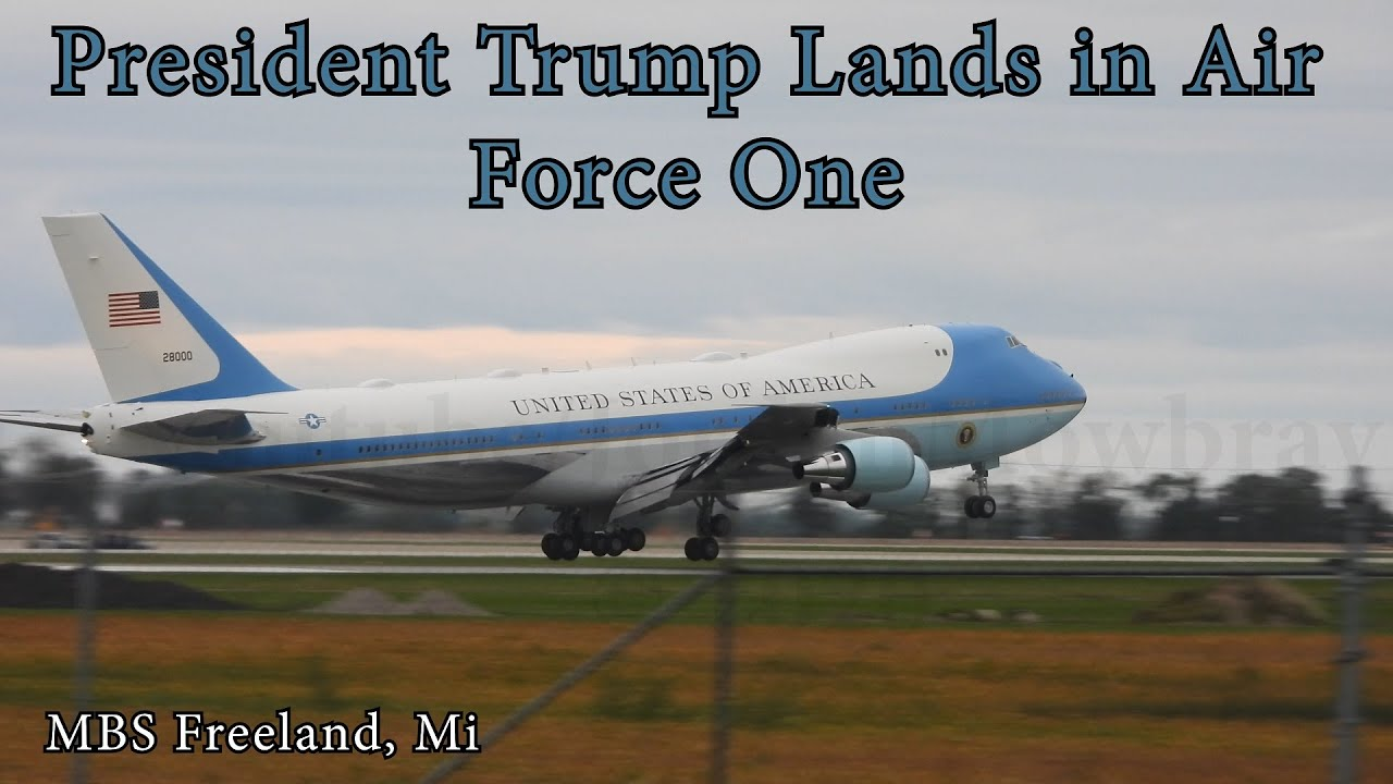 Download Watch President Trump Land in Air Force One at Freeland MBS Airport - Michigan Trump Rally 2020