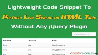 Perform Live Search and Filter on HTML Table using jQuery(Real-time search on HTML table using jQuery – Lightweight code snippet to perform live search and filter on HTML table without any jQuery plugin. Read tutorial ..., 2016-10-17T19:04:30.000Z)