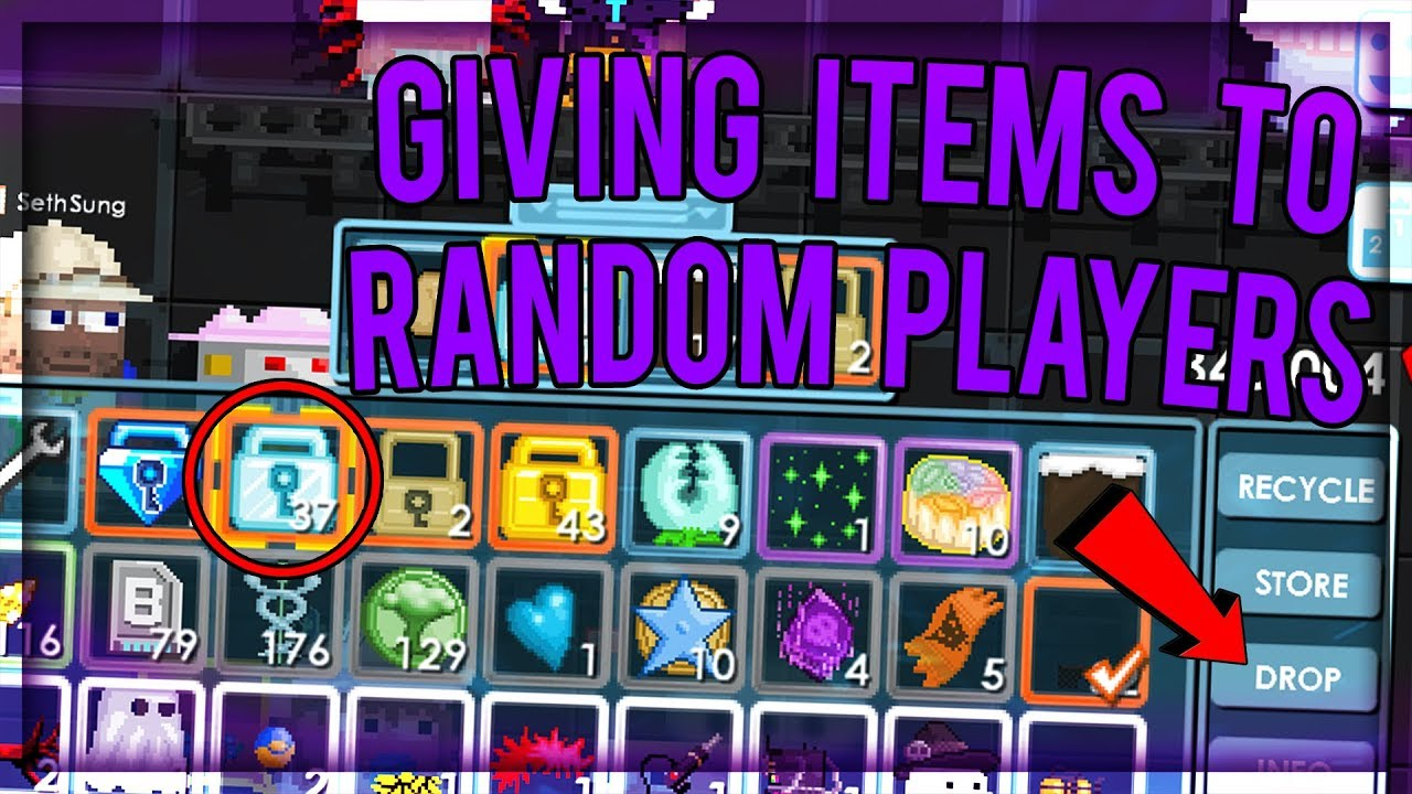 Giving away items to random players - Growtopia