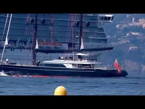 The US$ 40 Million Sailing yacht Seahawk leaving Cannes - owned by Jurgen Friedrich