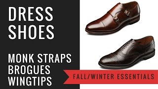 Men's Fall/Winter Dress Shoes - Double Monk Straps, Brogues, Wingtips - Leather, Suede