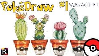 Pokédraw #1: Sprouting a Maractus ★ painting a cactus ★ Speedpainting ★ Watercolor II Pokémon GO