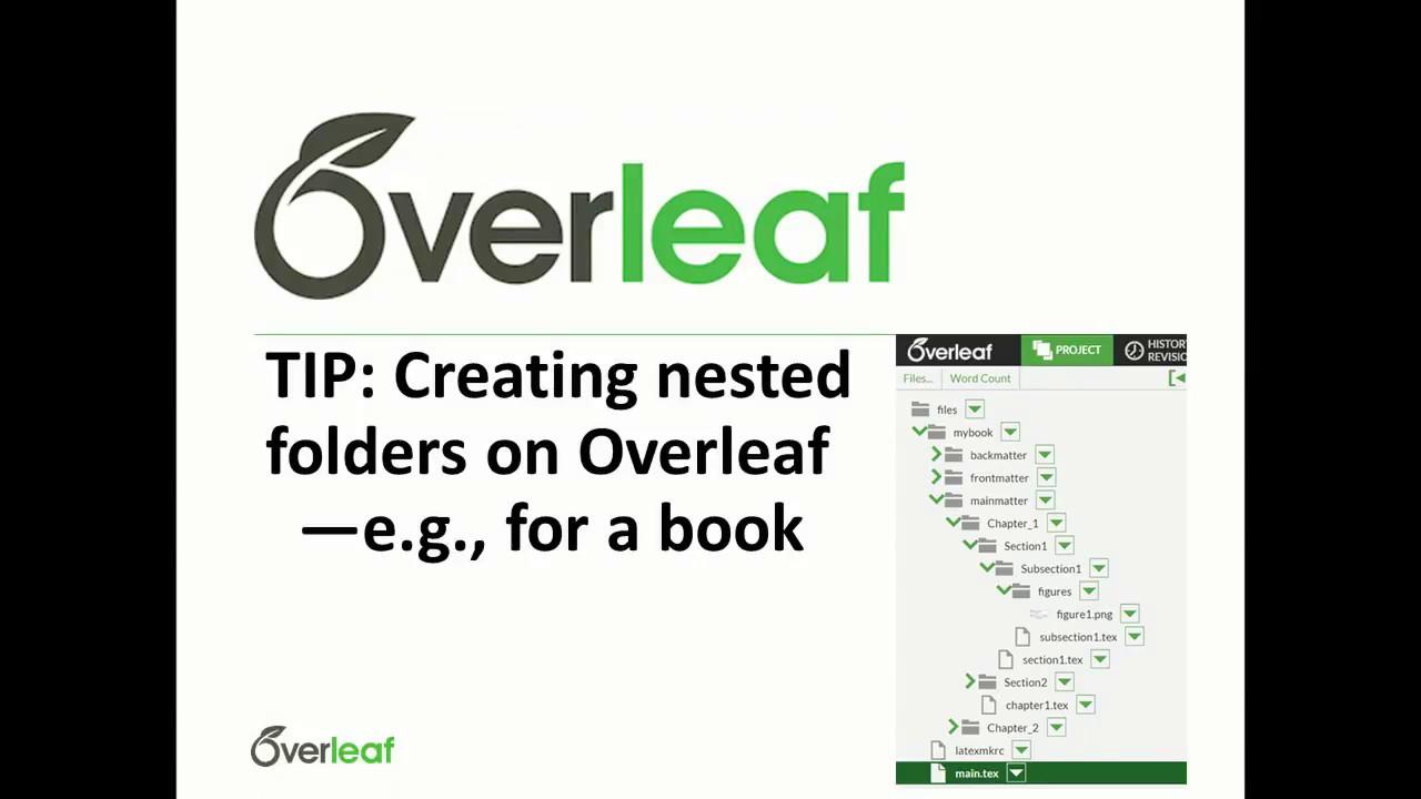 TIP: Creating nested folders on Overleaf