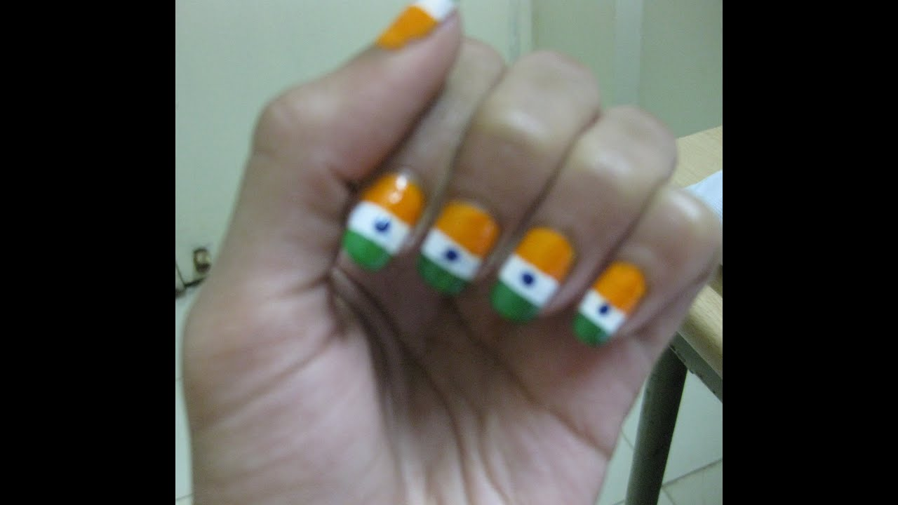 Easy Horizontal Indian Flag Nail Art (using 2 techniques) - YouTube