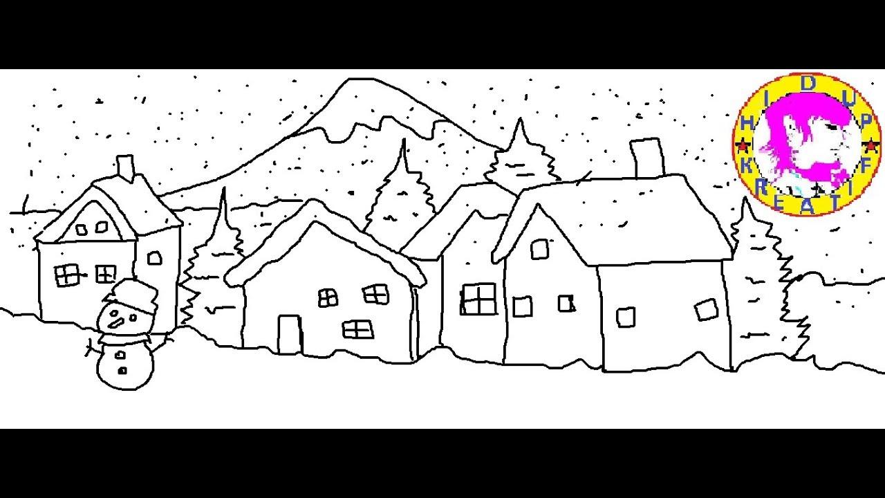 Cara Menggambar Suasana Musim Salju Youtube