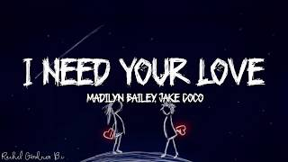 I Need Your Love - Madilyn Bailey, Jake Coco Lyrics