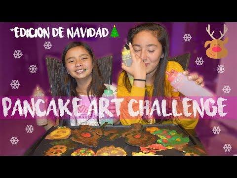 PANCAKE ART CHALLENGE EN NAVIDAD *dibujando con comida* // Sara Linares