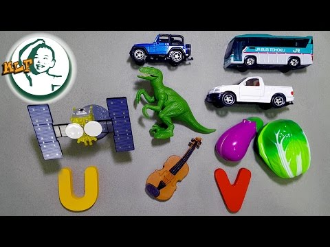 Words that start with U or V | Learn alphabet U or V with common toys!