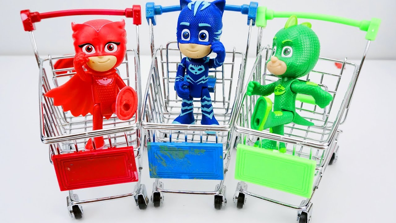 PJ Mask Play With 5 Colorful Balloons || Learn Colors Pj Masks Surprise Toys Shopping Trolley Mini 2