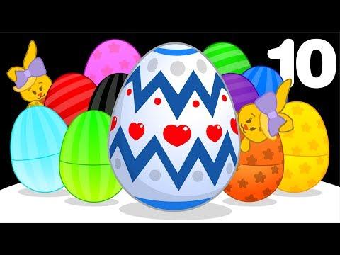 10 Huevos de Pascua Gigantes   Aprende Colores y Canciones Infantiles con Plim Plim
