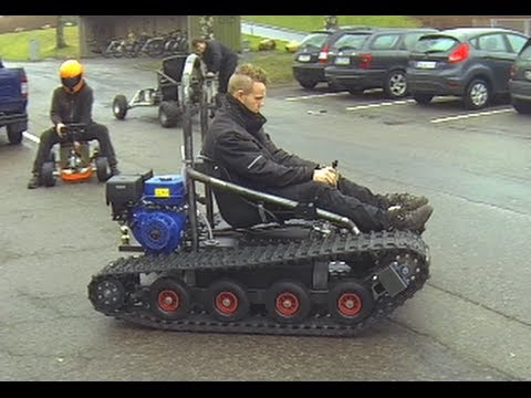 Home Made Tracked Vehicle Asphalt And Gras Hill Youtube