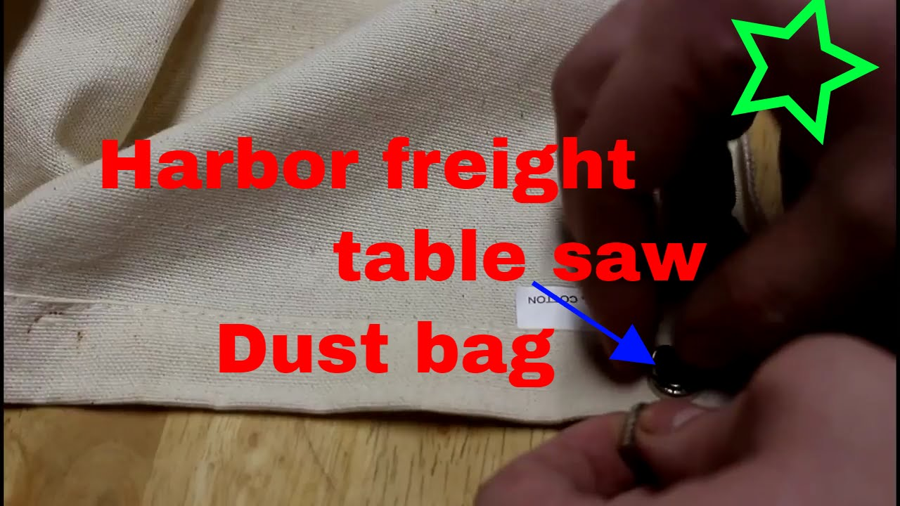 Harbor Freight Table Saw Dust Bag Install Mod Using Rare Earth Magnets
