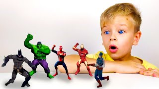 Dima pretends to play with Superheroes and Dance - Preschool toddler learn color