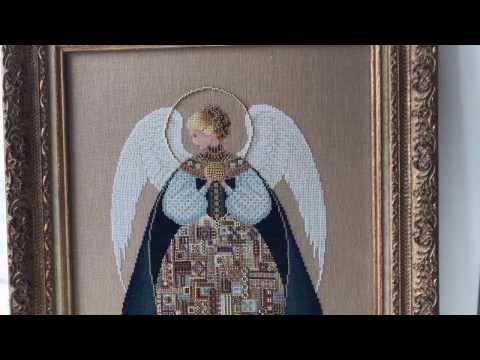 Вышивка крестом. Ангел любви. Оформленная работа.