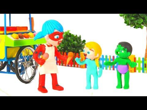 LADYBUG ICE CREAM PARLOR ❤ Spiderman, Hulk & Frozen Elsa Play Doh Cartoons For Kids