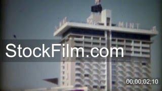 1965: Mint Hotel Casino Nevada Club parking Fremont Hotel skyline. LAS VEGAS